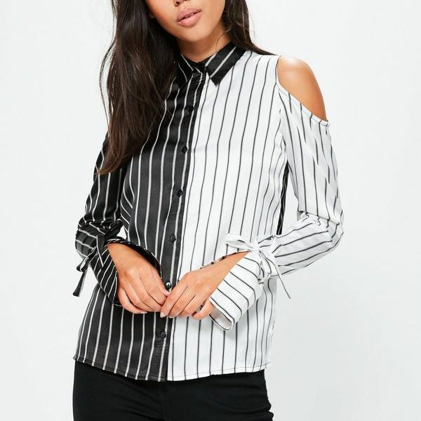black-monochrome-stripe-cold-shoulder-shirt